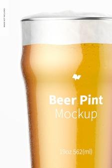 19 uncji piwa nonic pint glass mockup, zbliżenie