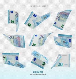 20 banknotów euro pieniądze renderowania 3d