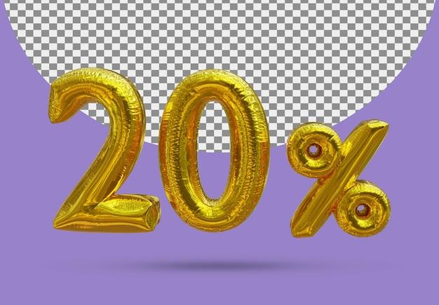 20-procentowy złoty balon foliowy realistycznego 3d na białym tle