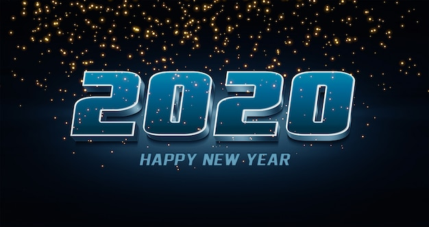 2020 szczęśliwego nowego roku efekt stylu tekstu 3d