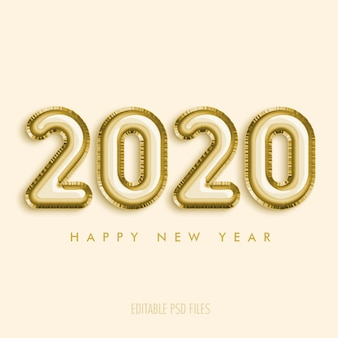 2020 szczęśliwego nowego roku ze złotymi balonami