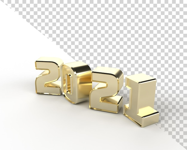 2021 nowy rok złota renderowania 3d alfabet izolowany obiekt