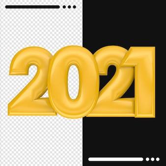 2021 szczęśliwego nowego roku w renderowaniu 3d