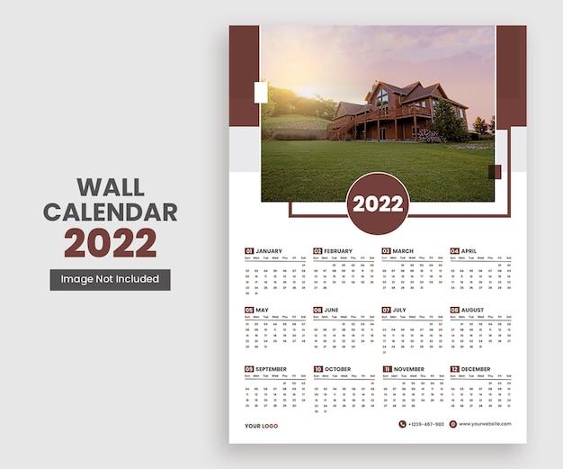 2022 projekt kalendarza ściennego pojedyncza strona