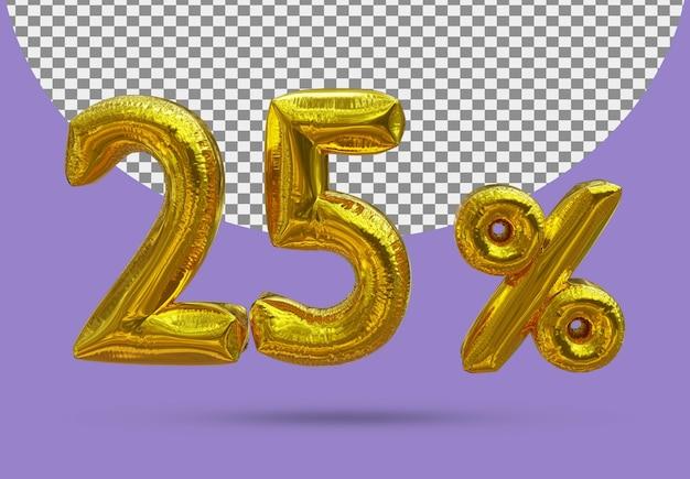25 procent złoty balon foliowy realistycznego 3d na białym tle