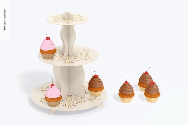 3-poziomowa makieta kartonowych stojaków na babeczki, widok z przodu