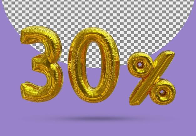 30-procentowy złoty balon foliowy realistycznego 3d na białym tle