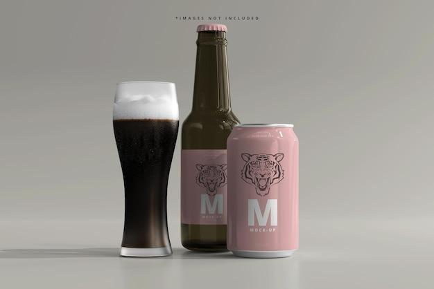 330 ml średniej wielkości puszka sodowa lub piwo i makieta butelek
