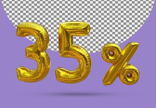 35-procentowy złoty balon foliowy realistycznego 3d na białym tle