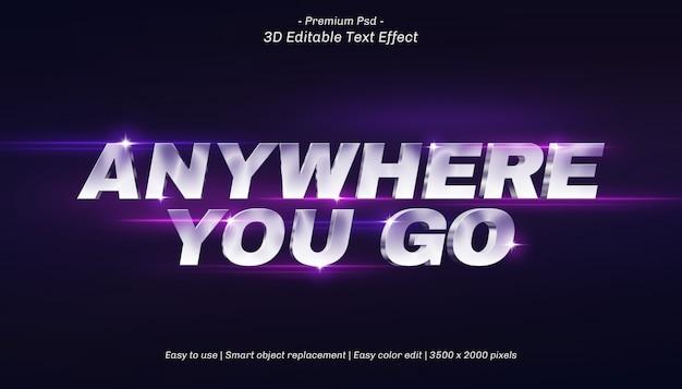 3d anywhere you go edytowalny efekt tekstowy