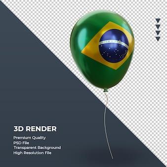 3d balon brazylia flaga realistyczna folia renderująca widok z lewej strony