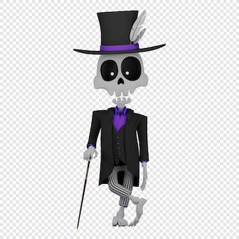 3d baron saturday ubrany w smoking i cylinder trzymający koncepcję laski el da de muertos