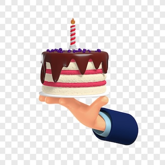 3d biały i różowy z czekoladowym lukrem tort urodzinowy w ręku wyizolowany z dostosowaniem kolorów
