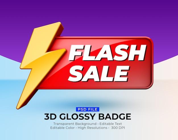 3d błyszcząca błyszcząca odznaka makieta sprzedaży flash