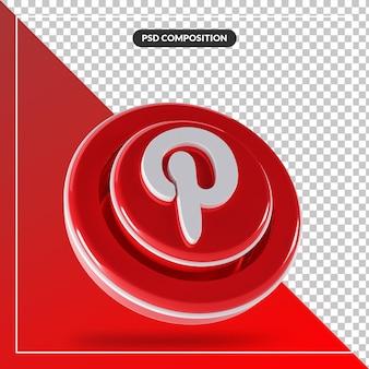 3d błyszczące logo pinterest na białym tle projekt