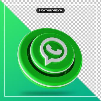 3d błyszczące logo whatsapp na białym tle projekt