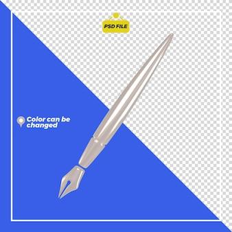 3d błyszczący długopis ikona renderowania na białym tle