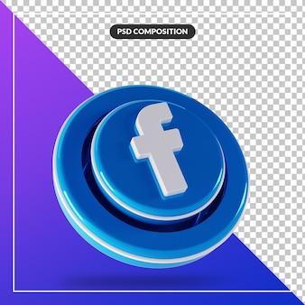 3d błyszczący facebook logo na białym tle projekt