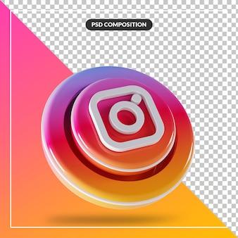3d błyszczący instagram logo na białym tle projekt