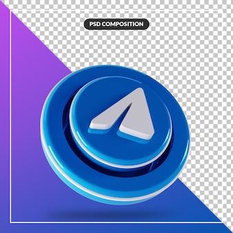 3d błyszczący telegram logo na białym tle projekt