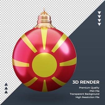 3d boże narodzenie piłka flaga macedonii północnej renderowania widok z przodu
