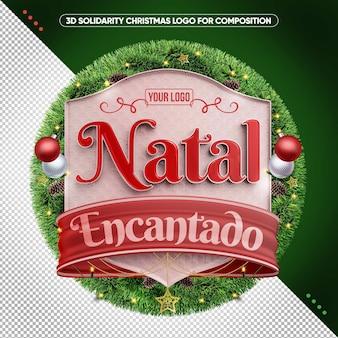 3d boże narodzenie zaczarowane logo dla brazylii