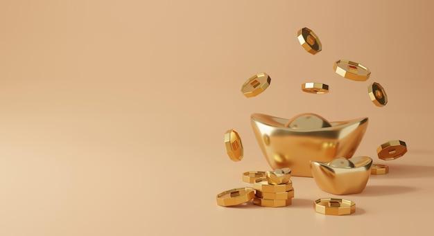 3d chiński projekt z renderowaniem złota i monet