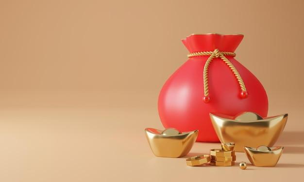 3d chiński projekt z renderowaniem złota, monet i szczęśliwej torby