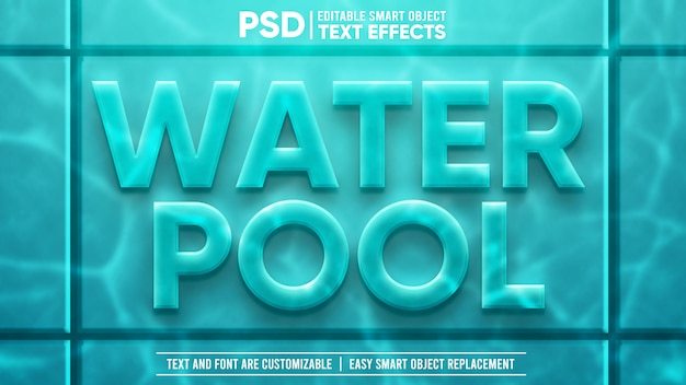 3d cool underwater pool edytowalny efekt tekstowy