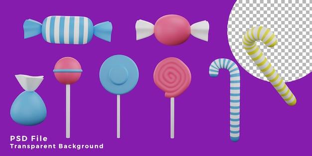 3d cukierki halloween zasoby ikona projekt pakietu ilustracja wysokiej jakości