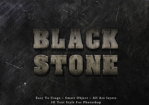 3d czarny kamień tekst styl efekt