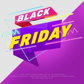 3d czarny piątek wyprzedaż baner promocyjny tytuł zniżki