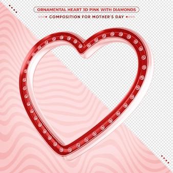 3d czerwone ozdobne serce z błyszczącymi diamentami