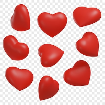 3d czerwone serca przedstawione pod różnymi kątami na białym tle ilustracje 3d