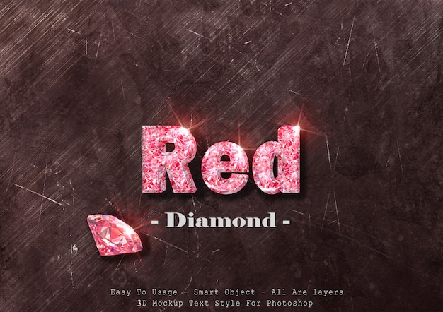 3d czerwony diament efekt stylu tekstu