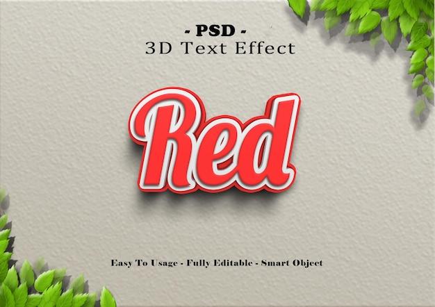 3d czerwony efekt stylu tekstu