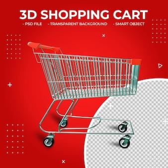 3d czerwony kolor metalowy koszyk na zakupy na białym tle