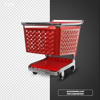 3d czerwony koszyk na białym tle renderowania
