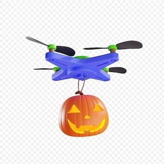 3d dostawa latarnia z dyni jacks przez drone koncepcja halloween na białym tle ilustracja 3d