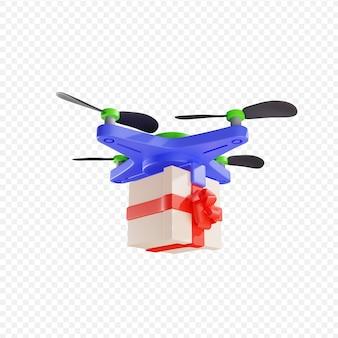 3d dostawa prezentu dronem dostawa zbliżeniowa dostawa paczek nowoczesne technologie