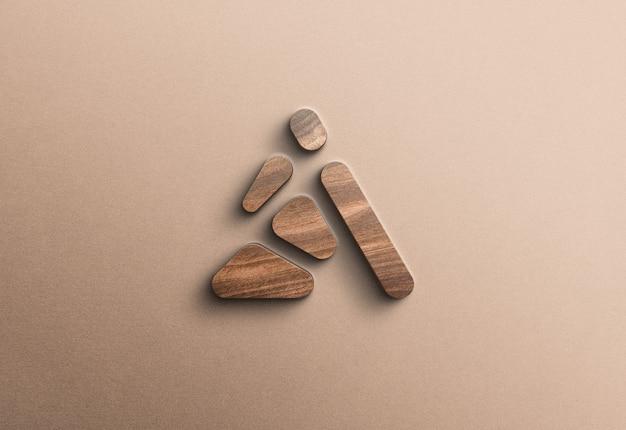 3d drewniane logo makieta na betonowej ścianie