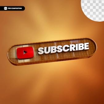 3d Drewniane Youtube Subskrybuj Na Białym Tle Premium Psd