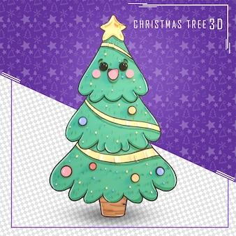 3d drzewo dla wesołych świąt na białym tle
