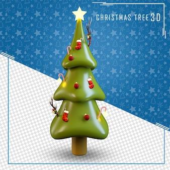 3d drzewo gwiazda wesołych świąt na białym tle