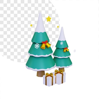 3d dwie choinki ze złotymi dzwoneczkami i pudełkami na prezenty