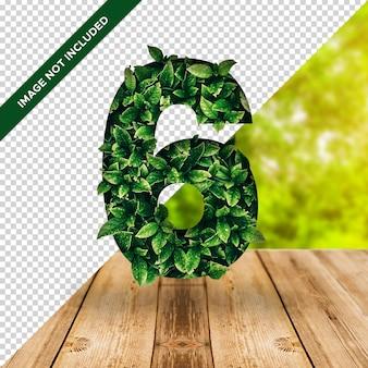 3d efekt liścia numer 6 z przezroczystym tłem