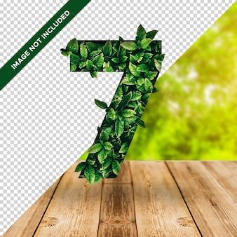 3d efekt liścia numer 7 z przezroczystym tłem