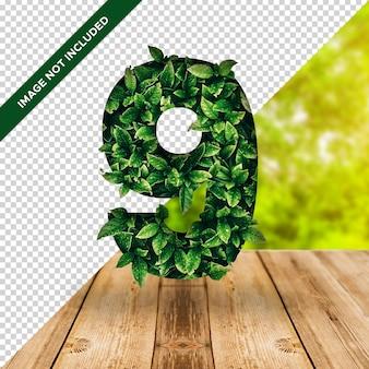3d efekt liścia numer 9 z przezroczystym tłem