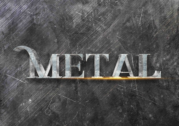 3d efekt metalowy styl tekstu