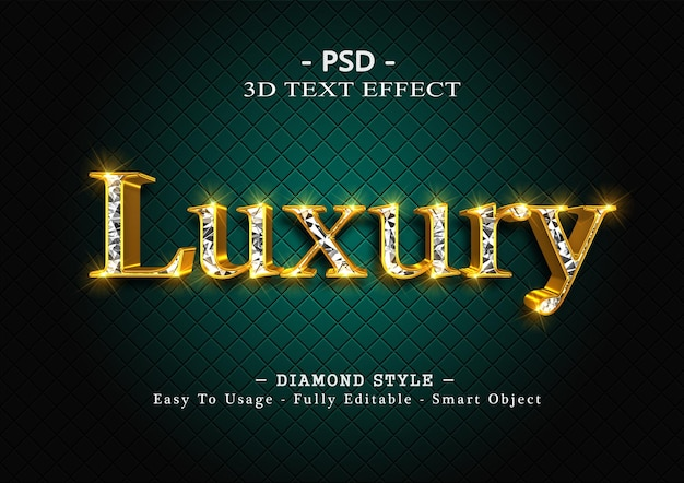 3d efekt stylu tekstu diamentowego
